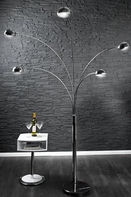 Bogenlampe FIVE LIGHTS mit schwarzem Marmorfuß von Riess Ambiente bei Lampenhans.de
