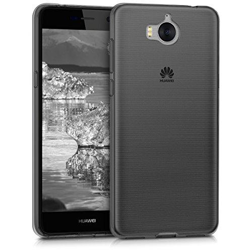 kwmobile Hülle für Huawei Y6 (2017) - TPU Silikon Backcover Case Handy Schutzhülle - Cover klar Schwarz Transparent