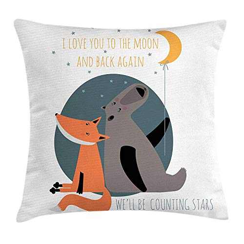 BHWYK I Love You Throw Pillow Cushion Cover, Bear and Fox in Love Valentine's Counting Night Stars Animal Print, Decorative Square Accent Pillow Case, 18 X 18 Inches, Orange Slate Blue Grey