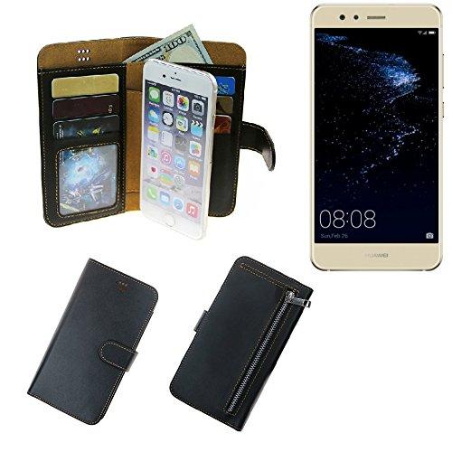 K-S-Trade Für Huawei P10 lite Dual-SIM Portemonnaie Schutz Hülle schwarz aus Kunstleder Walletcase Smartphone Tasche für Huawei P10 lite Dual-SIM - vollwertige Geldbörse mit Handyschutz