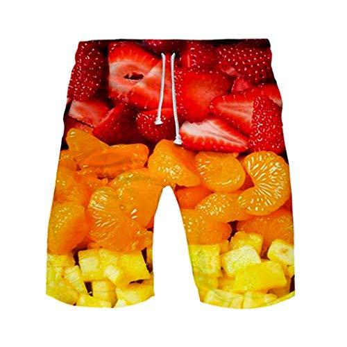 Petite Boxer-pant (GreatestPAK Herren Strand Fit Sport Schnelltrocknend Freizeit Shorts Hosen Hawaii Print Strandshorts Plus Size,Rot,EU:XXL(Tag:5XL))