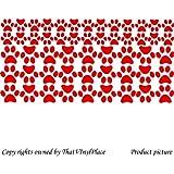 53 de huellas de perro impresión pegatinas de 27 x (6,4 cm) y 26 (4,4 cm) color ROJO mariquita woooowltd, infantil, niños de la sala de pegatinas, vinilo del coche, las ventanas y pared, ventanas de pared arte, etiquetas, adorno adhesivo de vinilo ThatVinylPlace