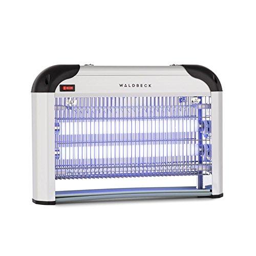 Waldbeck Mosquito Ex 4000 • Zanzariera Elettrica • Lampada Anti zanzare • per Esterni ed Interni • Trappola a Luce UV • Copertura 100 m² • Possibilitá di appenderla • Argento