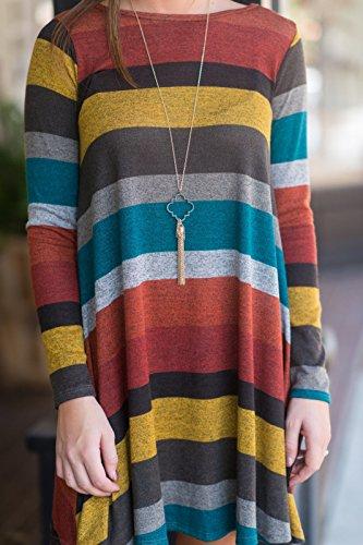 BIUBIU Damen Lose Streifen Sweatshirts Kleid Langarm Pullover Pulli Sweat Kleid Streifen-1
