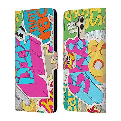Head Case Designs Skate Or Die Sticker Happy - New Brieftasche Handyhülle aus Leder für Huawei Mate 20 Lite -