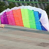 Fantasyworld 1.4m Arco Iris Doble línea Stunt Kitesurf Actividad paracaídas Suave Parafoil Kite Surf de