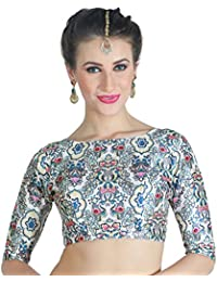STUDIO Shringaar Women's Digital Printed Multi-Colour Saree Blouse With Boat Neck