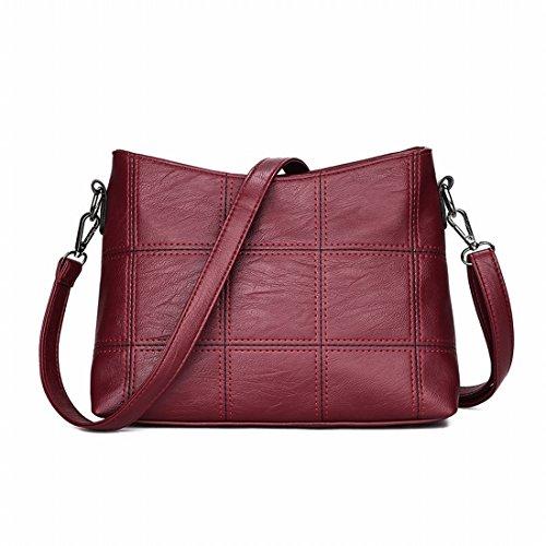 Mode-Hand Quadrat Nähen Schulter Messenger Bag Handtasche Rot