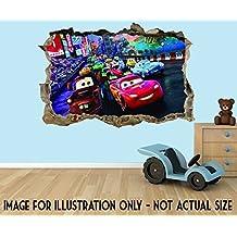 Cars Lightning McQueen& Mater, 3D Wand-Effektaufkleber aus Vinyl, geeignet für Wände,Türen und Glasfenster. , plastik, Extra Large 80 x 52 cm