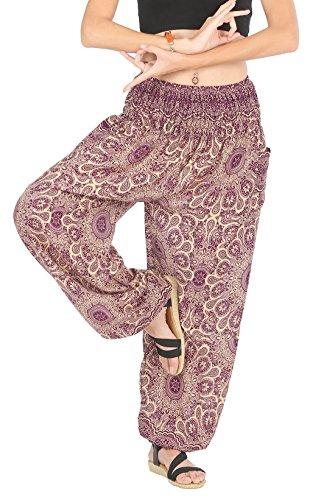 CandyHusky Haremshosen für Frauen Aladin im Hippy, Bohemian, Zigeunerstil für den Sommer am Strand oder als Yogahosen, Einheitsgröße Star Mandala Violett