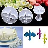 CY-buity 3piezas/set Cookie de paloma forma fondant cake sugarcraft cortadores de émbolo molde herramientas especializadas