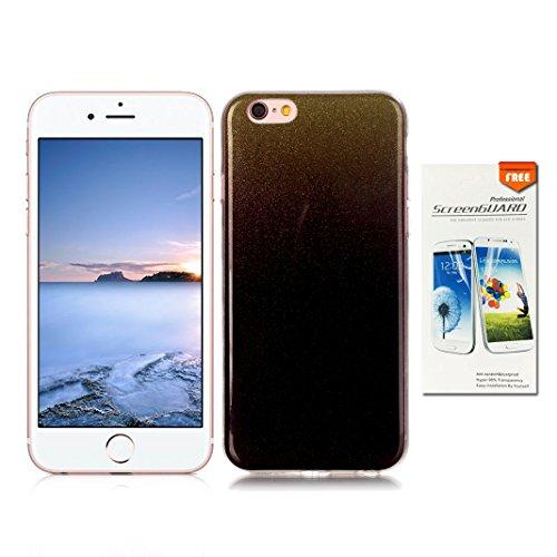 "OuDu iPhone 6/6S (4.7"") Hülle, Glitzern Funkeln Hülle TPU Silicone Etui für iPhone 6/6S (4.7"") Bling Glitter Case Sparkle Style Cover Soft Lightweight Bumper Flexible Schlanke Schale Glatte Leichte Ta Schwarze"