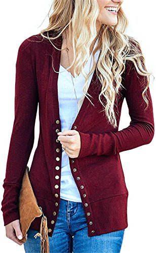 3-knopf-strickjacke (Cnfio Damen strickjacke Casual Cardigan Langarm Knopf V-Ausschnitt Outwear Mantel Winter rot XL)