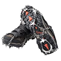 AUHIKE 18 Teeth Claws Crampons l Non-slip Shoes Cover with Stainless Steel Chain for Walking on Snow and Ice