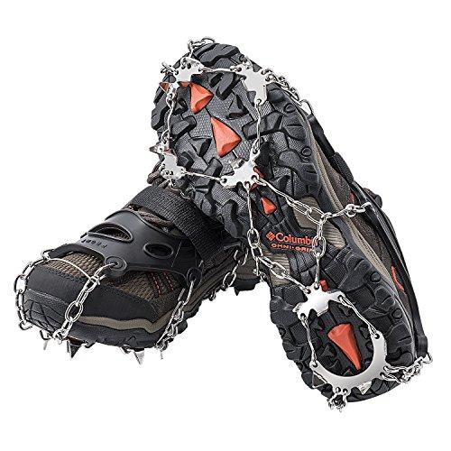 Crampones AUHIKE 18 de Dientes y Garras l Cubierta antideslizante de zapatos para nieve y hielo, con cadena de acero inoxidable (M)