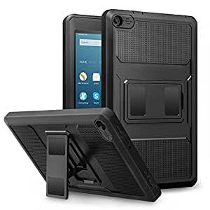 MoKo Amazon Fire 2016 HD 8 Case - Custodia Full Body Coperta Protettiva Anti-urti e Sporco con Pellicola Integrata per Fire HD 8 Tablet (6ª Gen, precedente Modello 2016), Nero