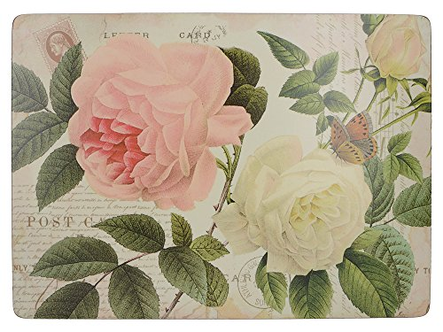 CREATIVE TOPS Rose Garden Premium de Sets de Table Envers en liège, Bois, Rouge, Lot de 6