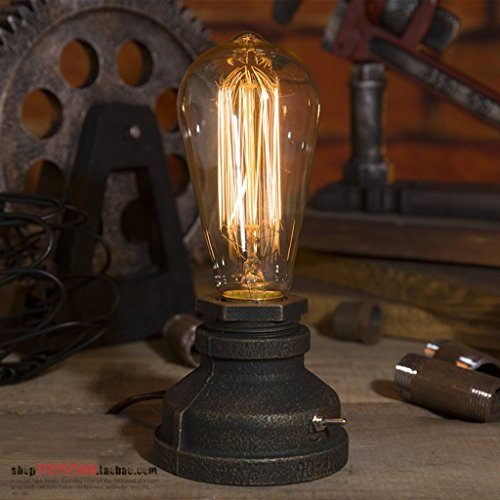 GJY Wshfor Lighting Loft E27 Vintage Industrial Metal Edison Desk Lamps Steampunk Wrought Iron Base Antique Table Lamp Light Night for Bedside Bedroom Bar Cafe Decor in Rust ,Water Pipe Lights,Dimmer (Edison Lamp Base)