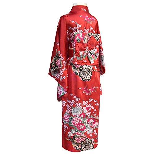 Kimono japonais femme costume geisha avec obi et noeud Rouge