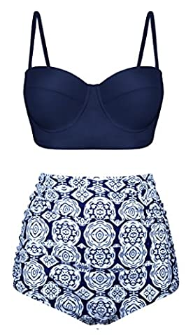 Aixy Women's Two Piece Geometric Pattern Swimsuit Beachwear Bathing Suits
