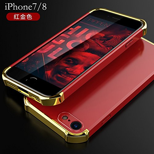 YHUISEN iPhone 7/8 Fall, Art und Weise 3 in 1 Heavy Duty High Impact Matte Beschichtung Shockproof Anti-Drop PC Hard Schutzhülle für iPhone 7 / iPhone 8 ( Color : Black Gold ) Red Gold