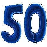 Trendario Folienballon Zahl 50 - XXL Riesenzahl 100cm Ballon - Helium Luftballons für Geburtstag, Partydeko, Hochzeit (Blau)