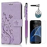 S7 Hülle Case KASOS Handyhülle Brieftasche Book Type PU Leder Tasche Gemalt Magnetverschluss Ledertasche Cover,Blume-Schmetterling Hell-lila + Stöpsel + Stylus + Schutzfolie für Samsung Galaxy S7