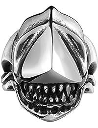 Lureme® Punk Rock anillo de banda de negro retro estilo antiguo motorista maya corazones góticos tiburón de acero inoxidable de la plata con la boca abierta para los hombres (04001156)