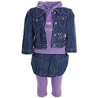 Completo in quattro pezzi (maglietta, giacca, gonna, leggings) da bambina 20330 - I fantastici set per bambini in 4 pezzi sono costituiti da una giacca di jeans, una gonna in jeans, una maglia con cappuccio e leggins. Sono lavorati finemente ...