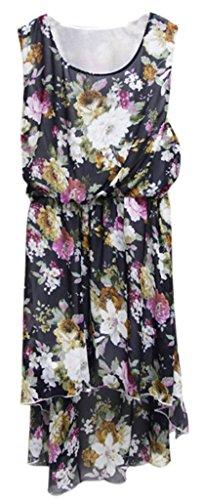 sexylady - Robe - Robe - À Fleurs - Sans Manche - Femme Noir - Motif à fleurs - Noir