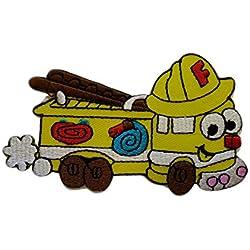 Toppe termoadesive - macchina dei pompieri bambini Baby - giallo - 6,1x10,4cm - Patch Toppa ricamate Applicazioni Ricamata da cucire adesive
