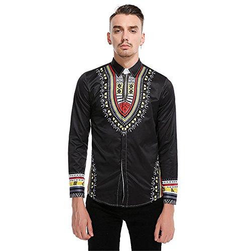 lixus chinesische aristokrat Stil royal bestickte Hemd Bedruckt langärmliges Hemd,schwarz,l - Schwarzes Besticktes Hemd