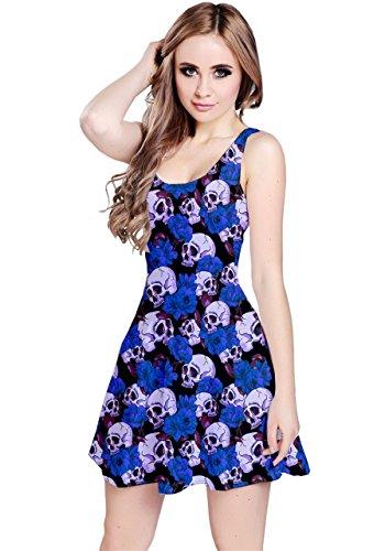 vestido skater CowCow, diseño con flores y calaveras, sin...
