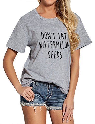 Nlife Frauen Mode Casual O Neck Nicht Essen Wassermelone Samen Brief D