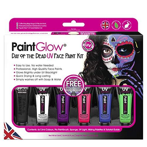Kit Pintura Cara Paintglow Día Muertos UV Multicolor