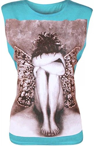 janisramone Frauen-T-Shirt, Engel-Schmetterling, Ärmelloses Damen-Top, mit Pailletten Türkis