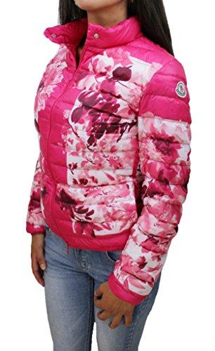 Piumino donna moncler original modello alisia giacca giubbotto rosa floreale piuma d'oca taglia 1 (42-44 ita) (42-44)