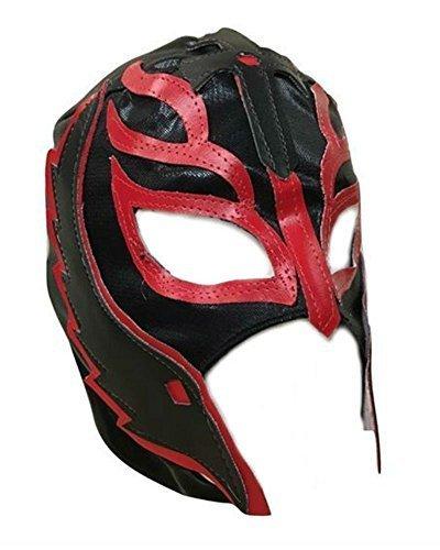 UK Halloween Karneval Cosplay Schwarz Wrestling Rey Mysterio Son of the Devil Reißverschluss - Kinder Voller Kopf Maske - Kostüm verkleiden Outfit Wwe Party (Wwe Halloween-kostüme Für Kinder)