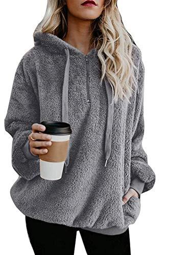 Namektch Damen Pullover Hoodie, Oversized Sherpa Kapuzenpullover Sweatshirt Reißverschluss Taschen Casual Outwear Mantel Warm Kostüm - grau - Medium -