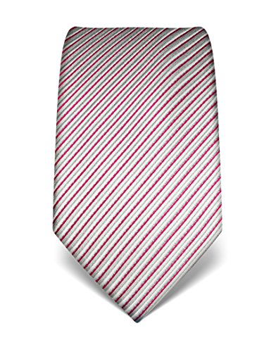 Vincenzo Boretti Herren Krawatte reine Seide gestreift edel Männer-Design gebunden zum Hemd mit Anzug für Business Hochzeit 8 cm schmal/breit fuchsia