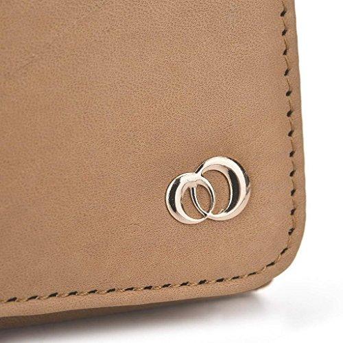 Kroo Pochette en cuir véritable téléphone portable Housse de protection d'écran Ctrl V5/Pioneer P4 noir - noir Marron - marron