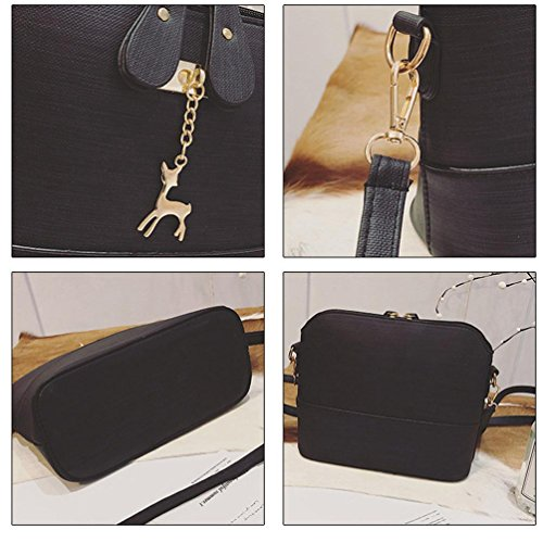 Damen Handtaschen, Huhu833 Neue Frauen Messenger Bags Vintage Kleine Shell Leder Handtasche Casual Paket Schwarz