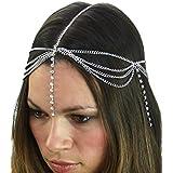 Womens Bohemian Fashion Head Chain Jewelry 3 Draping Chain Strand With Long Rhinestone Strand, Silver Tone