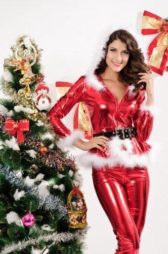 ZLMDS Damen/Miss Sexy Party Fancy Hosen Weihnachts Santa Claus Kostüm Outfit