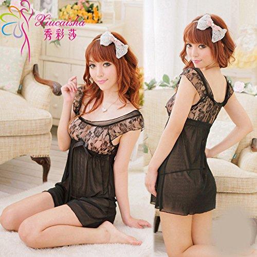 Preisvergleich Produktbild Schlafanzug Damen Schlafanzug Unterwäsche Dessous Spitze Unterkleid-Code