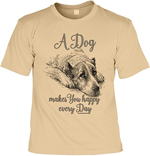 Hunde T-Shirt A Dog makes You happy every Day Shirt 4 Heroes bedruckt Geschenk Set mit Mini Flaschenshirt Sand
