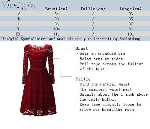 ... YaoDgFa Sexy Damen Kleider Spitze Abendkleid Cocktailkleid Partykleid  Rockabilly Kleid Knielang Festlich Langarm Off Schulter Retro 469a1002c3