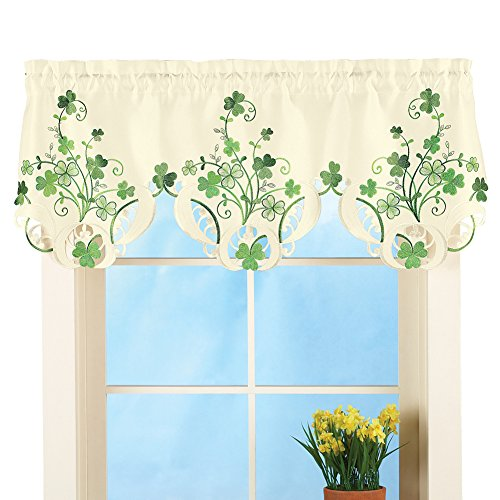 Collections Etc St. Patrick 's Day Shamrock Bestickt Fenster Volant Dekoration