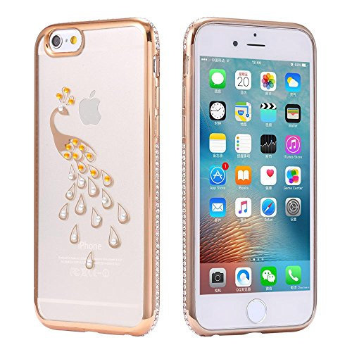 ECENCE APPLE IPHONE 6 6S (4,7) SLIM TPU CASE SCHUTZ HÜLLE HANDY TASCHE COVER TRANSPARENT DURCHSICHTIG CLEAR 12020501 Gold Pfau