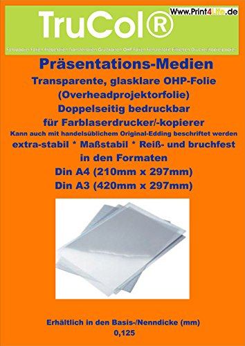 100 Blatt DIN A3 KLAR/TRANSPARENTE glasklare OHP-Folie für Laserdrucker Kopierer Farblaser mit einer speziellen beidseitigen Oberflächenbeschichtung für perfekte s/w und farbige Präsentationen Drucke. Optimale Tonerhaftung für den Einsatz auf Farb- und/oder Monocchrom (s/w), Laser-Druckern bzw. Kopierern
